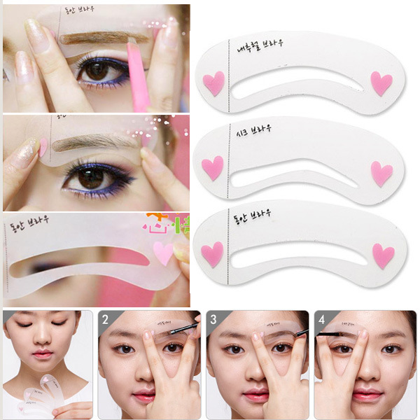 2014 Free Shipping Eyebrow Stencil Tool Makeup Eye Brow Template Shaper Make Up Tool 3 Styles