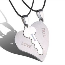 Fashion Korean Couple Necklaces Set Pendant Necklace Engrave I Love You Matching Hearts Key 316L Stainless