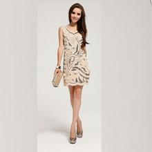 Livraison gratuite 2015 femmes Cocktail robes Sexy léopard robes