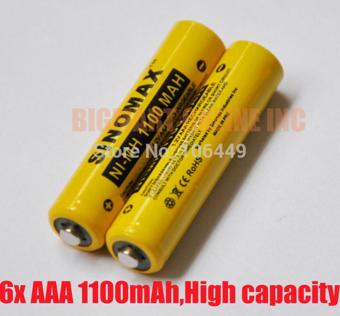 Аккумулятор 6pcs/sinomax 1100MAH 1.2V AAA , 1.2V ni/mh ,  SMAAA11