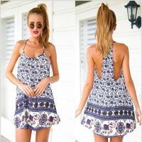 New 2015 Print Women Dress Halter Beach Dress Backless Sleeveless Casual Mini Summer Dress Vestidos