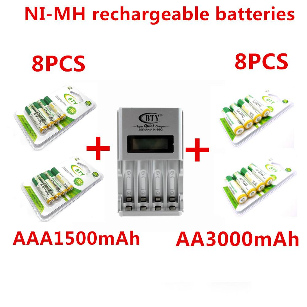 Free Shipping 8pcs 1.2v AAA 1350mAh+8pcs AA 3000mAh NiMH Ni-MH Rechargeable Battery+LCD charger(China (Mainland))