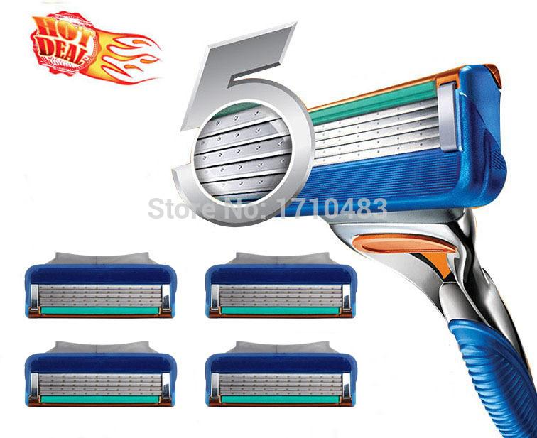 High Quality Brand 4pcs/lot FP Proglide Power 5 layer blades Men's Shaving Razor Blade Grade AAA+ Standard for RU&Euro&US(China (Mainland))