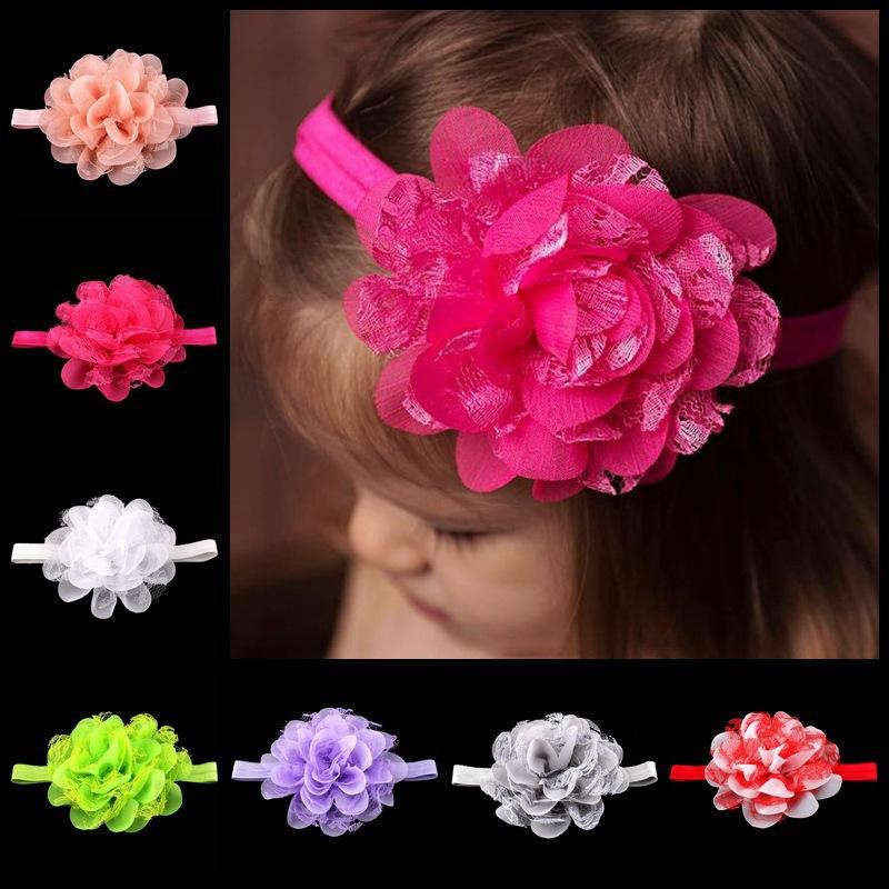 Pop in European and American Children's Headwear Baby Chiffon Flower Hair Band Kid Elastic Headband 17 color Hair Accesories(China (Mainland))