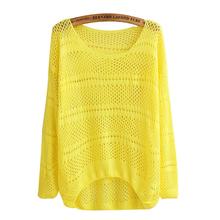Сплошной пуловер свитер для женщины весна осень полые трикотаж свитера длинный рукав верхний свободного покроя без тары верхняя одежда C23