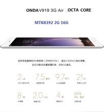9.7inch IPS 2048*1536 tablet MTK8392 Octa Core 2GB/16GB Android 4.4 3G WCDMA GPS OTG Bluetooth 2MP+5MP 6000mAh ONDA V919 3G AIR