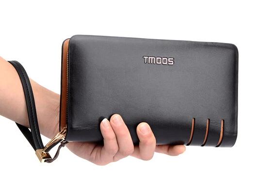 High Quality! Cowhide Leather Men Handbag High Quality Double Zipper Wallets Large Clutch man Purse bag(China (Mainland))