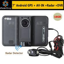 2015 New 7 inch Android GPS Navigation rear view Car Radar Detector Car DVR 1080P Truck vehicle gps Navi AVIN/FM/Free map 16GB