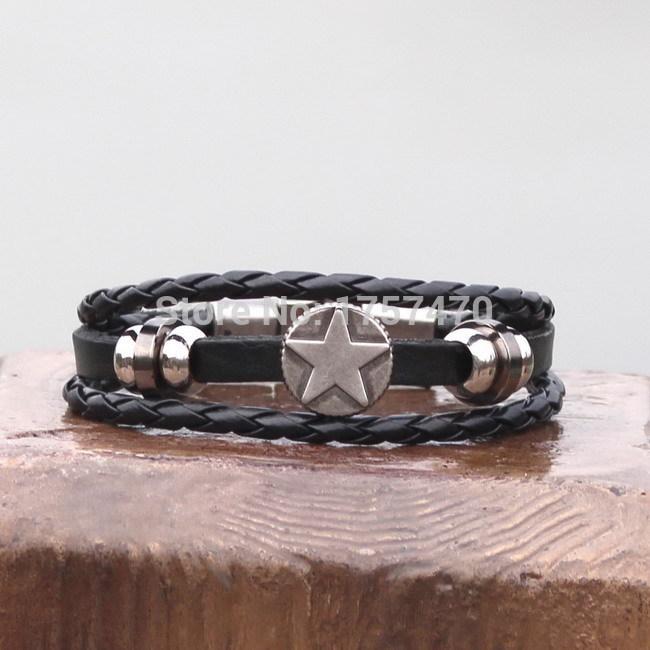 Vintage Bronze Star Black Mens Leather Bracelet Cuff Celtic Symbols(China (Mainland))