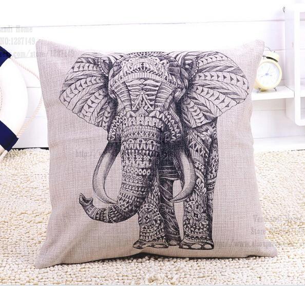 45 * 45 cm alta qualidade lençóis de algodão tampa almofada do sofá bege bonito do leopardo animal elefante coruja giraffee carro fronha de deco(China (Mainland))