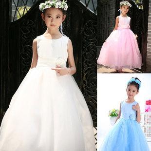 2015 New Flower Girl Dress Children Sleeveless Ball Gown Beautiful Children Wedding Dress 3-12 Year Old Summer Dress 02(China (Mainland))