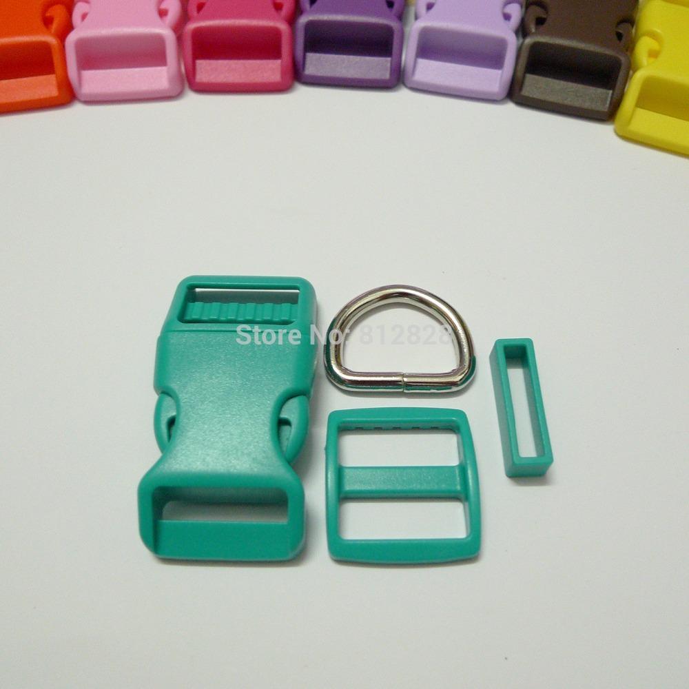 25 Sets 1'' 25mm #5 AQUA BLUE COLOR Dog Collar Hardware Curved Side Release Buckle Set(China (Mainland))