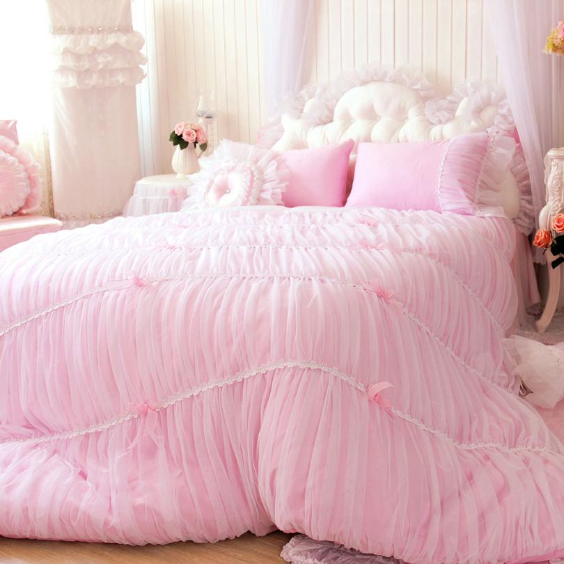 Korean princess style pure pink 4pcs bedding set full queen size duvet