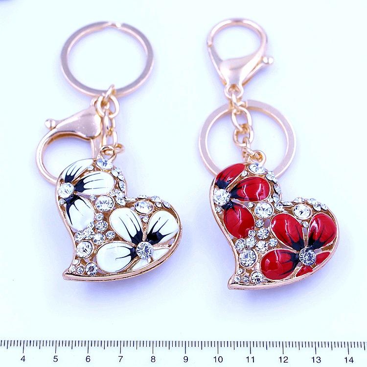 2015 Gold Plated Key Chain High Quality Rhinestone Crystal Charm Pendant Bag Car Keyring Pendant Fashion LOVE Heart Keychain(China (Mainland))