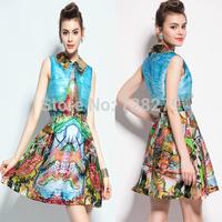 2015 Women's Fashion A-line  Turn-down collar slim Print sleeveless one-piece dress 3D Printed Summer DRESS Party Dresses
