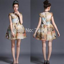 Fashion Women Dress Plus size 2015 Summer Style  Vintage 3D Print Organza Puff Summer DRESS S M L XL XXL 3XL 4XL 5XL Big