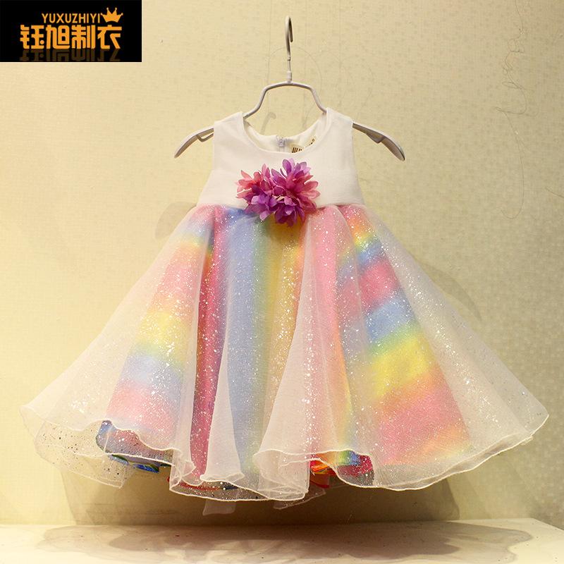 Girls dress summer 2015 new sleeveless gauza rainbow ball gown for toddler littler girl baptism kids flower princess vestido(China (Mainland))