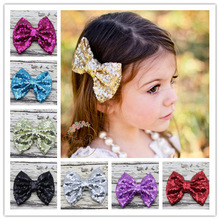 2015 New Big Sparkle Bows  for Girl and Woman Hair Accessories fashion Big Sequin Bows For DIY Baby Headbands 10pcs/lot(China (Mainland))