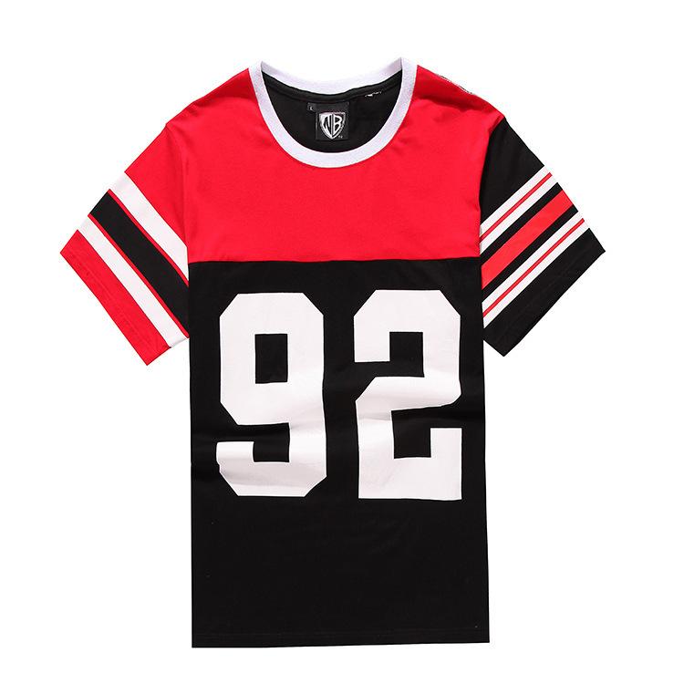 Mens designer clothes casual-men t shirt printed number 92 tees shirt big boys clothing hip-hop street wear oversized camisetas(China (Mainland))