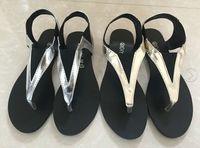 2015 summer flat flip flops brief comfortable gladiator style flat heel flip-flop women's shoes sandals gold and sliver slippers