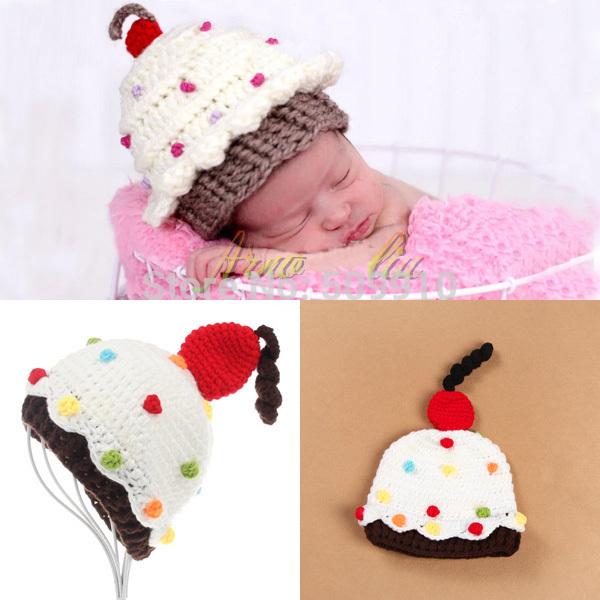 Retail samples Baby Cupcake Crochet hat Custom Made Baby Crochet Cake Hat Newborn Photography Props(China (Mainland))