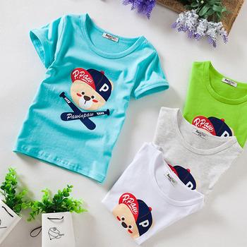 Новинка 2015 детей майка летом с коротким рукавом хлопок детеныши животных мультфильм тройники мальчиков одежда 4 цвет ребенка майка Z16