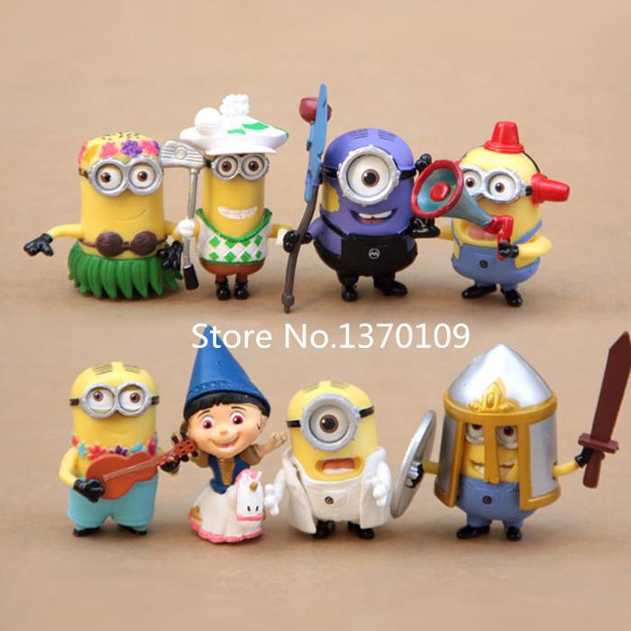 High Quality 8Pcs/Lot Descable 2 Minion Toys 6CM 3D Eyes Minion PVC Figure Set Super Nice Movie Minions Dolls Puppets Model Gift(China (Mainland))