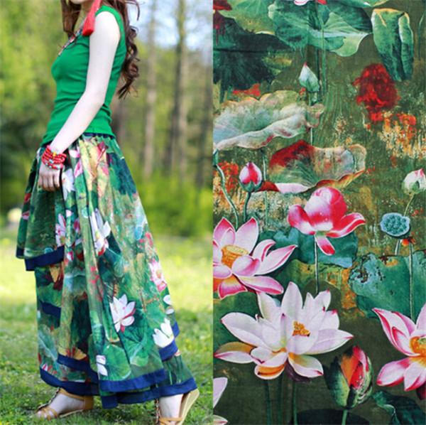 2015 New Chinese style linen/cotton printing fabric imitation wax cloth lotus art curtain table cloth skirt DIY 50x147 cm/piece(China (Mainland))
