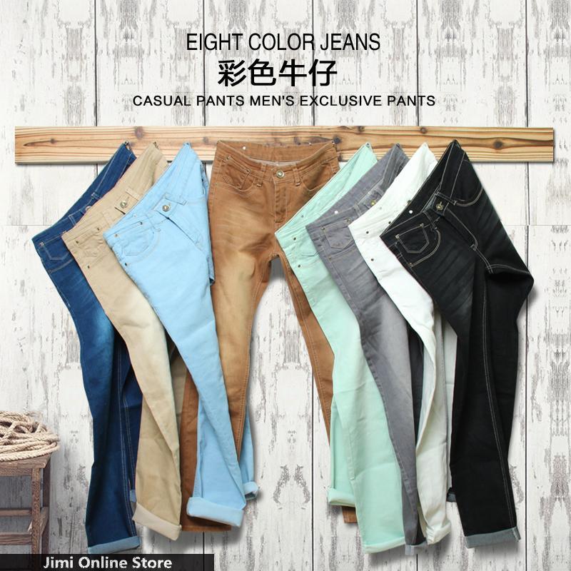 many color Jeans men 2015 mens jeans elastic waist skinny men's jeans long slim fit casual trousers denim pants men 28 - 38 36(China (Mainland))