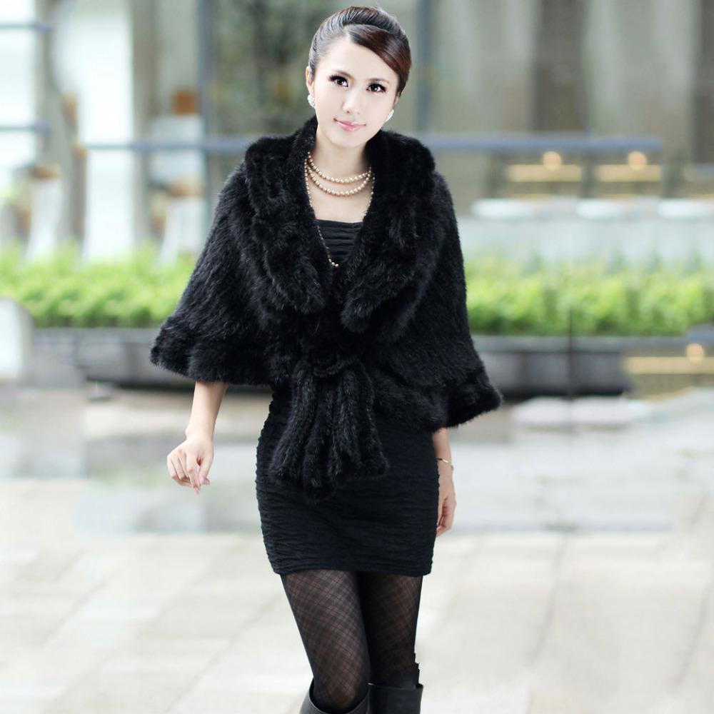 2015 fashion 100% GENUINE Women Knit Mink Fur Scarf Natural MINK FUR SHAWL cape short design lady wedding fur cape Wrap autumn(China (Mainland))