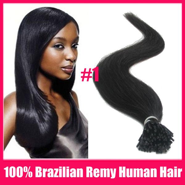 "10packs/lot #1 Black 18"" 20"" 22"" 100% Brazilian Remy Human Real Hair Extensions Stick I Tip Fushion Hair Keratin Glue 100S/pack(China (Mainland))"
