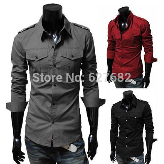 все цены на Мужская повседневная рубашка Chiese Brand ,  Slim Fit 3 Dropshipping s/xl HZ13 онлайн