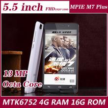 Original Smartphone MPIE M7 Plus MTK6752  64bit Octa Core 2.2GHz 4G RAM 16GB ROM13.0MP 5.5″ 1920*1080px Android 5.0 mobile phone