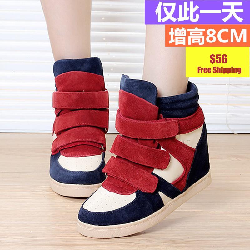 Color block decoration women's elevator shoes casual shoes genuine leather velcro sport shoes high platform shoes(China (Mainland))