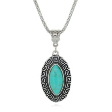Vintage Oval Tuquoise Necklaces Tibetan Silver Pendants Fashion Jewelry for Lovers