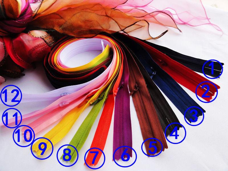 Free shipping NEW 3# Hight quality Invisible nylon zipper 12 colors 40cm 25pcs/lot Fix a zipper repair diy clothes dress poket(China (Mainland))