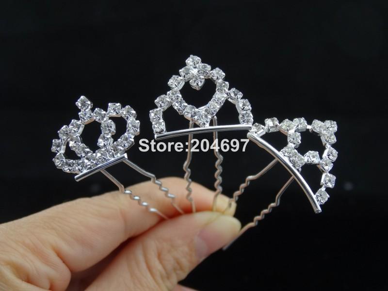 200pcs/lot Bling Rhinestone Diamante Crystal Crown Hair Pins Clips Trendy Wedding Bridal Hair Accessories Jewelery Wholesale(China (Mainland))
