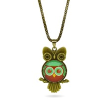Vintage Owl Pendant Necklace Fashion Glass Cabochon Statement chain Necklace Classic Bronze Necklace in Jewelry