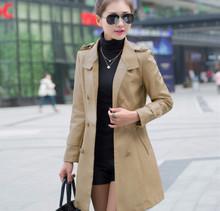 Free shipping 2015 women Leather coat long leather garments 2 colors khaki black for Large size clothing L-5XL Winter warm(China (Mainland))