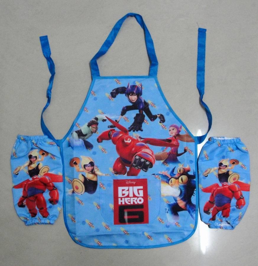 1set Kids Big Hero 6 Aprons Kit/Boys Cartoon Baymax High Quality Drawing Personalized Pocket Pinafore /Kitchen Tools(China (Mainland))