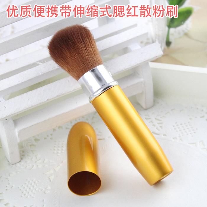 Professional Retractable Mineral Powder Brush Blush Makeup Brush High Quality Goat Hair Free Shipping(China (Mainland))