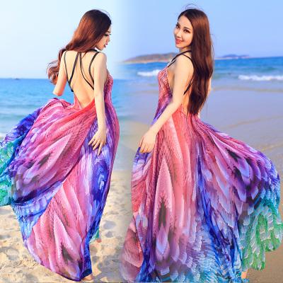 Advanced customization Colorful printed chiffon dress halter horse on behalf of the Thai holiday dress az(China (Mainland))