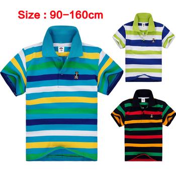 Дети и малыш подросток больших мальчиков одежды с коротким рукавом 100% хлопок полосатый майка размер 2 4 6 8 10 12 14