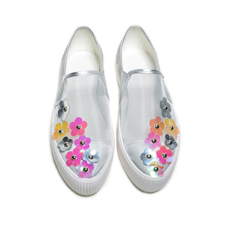 women Breathable Mesh and cow leather summer casual flat shoes 2015 new arrive cute flowers flats ladies 3cm platform sneakers(China (Mainland))