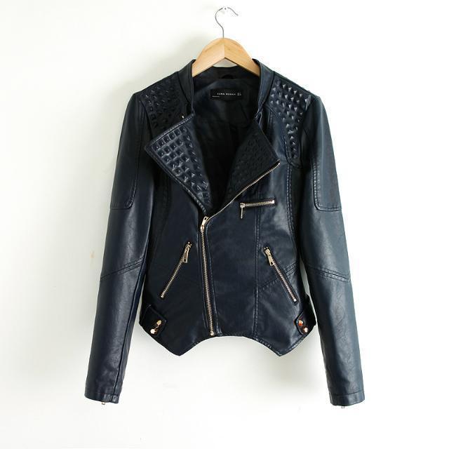 Studded Leather Jacket Women
