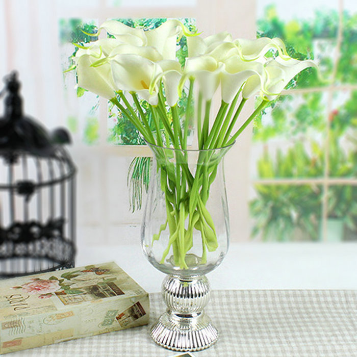 10pcs Mini Size PU Calla Lily Real Touch Flower Artificial Flowers for Wedding Decoration Party Flower for Gift/Home Decor 2015(China (Mainland))