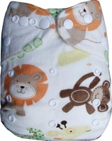 Lovely Printed Minky Baby Cloth Diapers Waterproof Baby Nappies