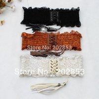 Free shipping Wholesale  fashion ladies'  elastic belts Lace women belt