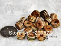 TSB0130  Traditional Tibetan Old Yak bone metal silk Oiled loose beads,50beads lot,Tibet handmade ethnic DIY oblate beads