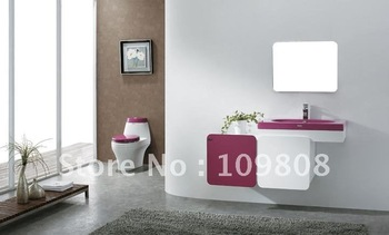 free shipping high quality PVC bathroom cabinet with color acrylic basin